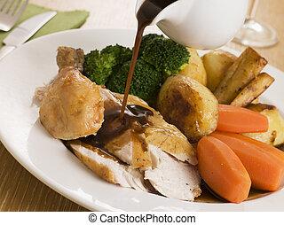 tányér, húslé, lény, felett, ömlött, sült csirke