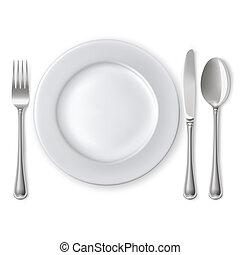 tányér, noha, kanál, kés és villa