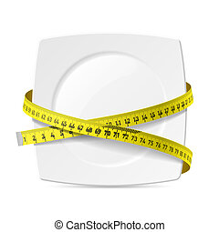 tányér, noha, mérőszalag