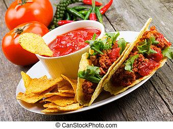 tányér, noha, taco, nachos, játékpénz, paradicsom, bemárt