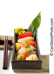 tányér of, japán, sushi, noha, aprít kitart