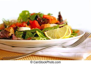 tányér, saláta, egészséges, magas, mező, mélység, finom