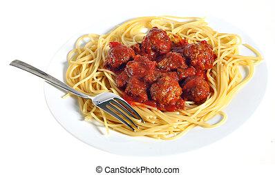 tányér, spagetti hús labda
