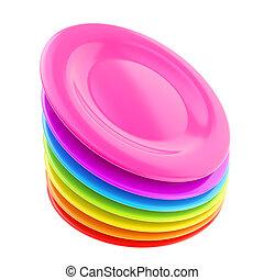 tányér, színes, edények, elszigetelt, fehér, kazal