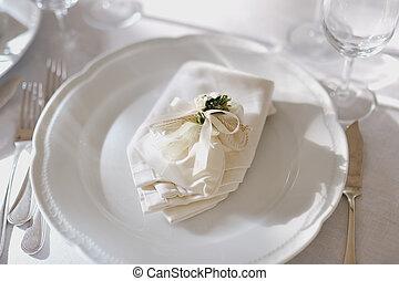 tányér, szalvéta, -, beállítás, esküvő, asztal
