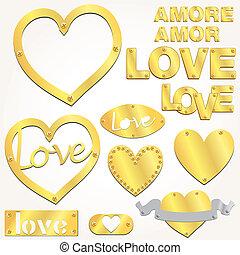 tányér, szeret, arany-, gold szív, vektor