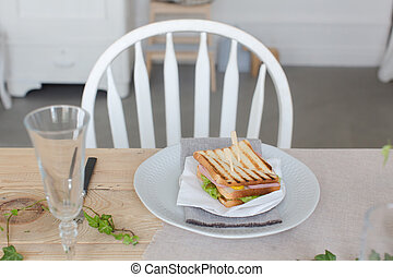 tányér, szervál, szendvics, beautifully, asztal