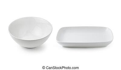 tányér, tál, elszigetelt, háttér, fehér, agyagművesség