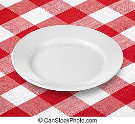 tányér, tarkán szőtt pamutszövet, piros abrosz, fehér, üres