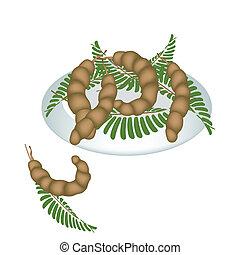 tányér, zöld, tamarindusz-fa gyümölcse, hüvely, friss