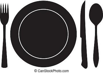 tányérnyi, villa, kanál, kés, vektor