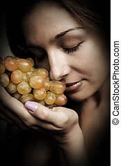 táplálás, nő, egészséges, -, szőlő, friss