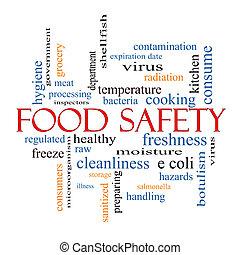 táplálék biztonság, fogalom, szó, felhő