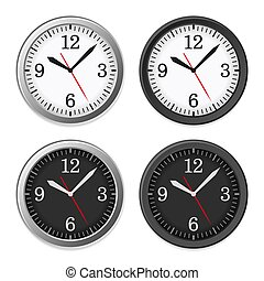 tárcsa, óra, set., vektor, mechanikai, karika
