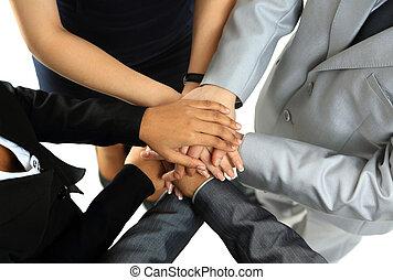 társ, társaság, ügy, kép, kézbesít, symbolizing, egység,...