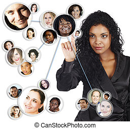 társadalmi, hálózat, közül, african american, üzletasszony