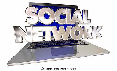 társadalmi, hálózat, laptop computer, összekapcsolás, barátok, kommunikáció, 3, szavak