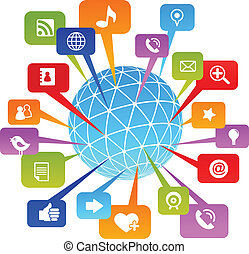 társadalmi, hálózat, világ, noha, média, ikonok