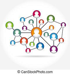 társadalmi, ikon, média, csoport, elem