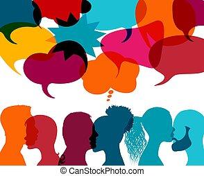 társadalmi, jottányi, arcél, gazdag koncentrátum, emberek, ...