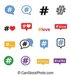 társadalmi, média, állhatatos, hashtag, ikonok