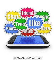 társadalmi, média, és, networking, fogalom