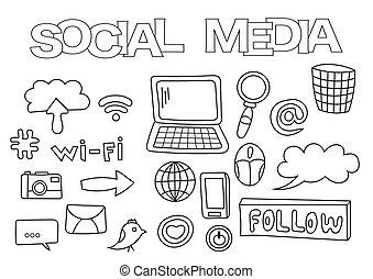 társadalmi, média, alapismeretek, kéz, húzott, set., elpirul beír, template., áttekintés, szórakozottan firkálgat