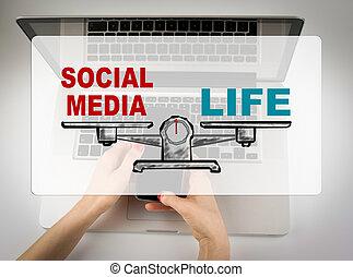 társadalmi, média, concept., ügy woman, dolgozó, noha, számítógép