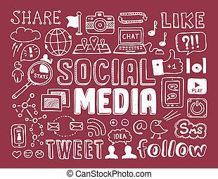 társadalmi, média, doodles, alapismeretek