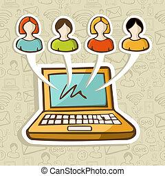 társadalmi, média, emberek, online, kölcsönhatás