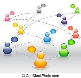 társadalmi, média, hálózat, noha, beszéd, bu