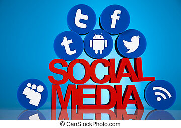 társadalmi, média, ikonok, állhatatos