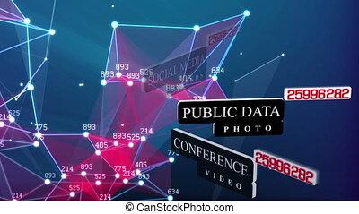 társadalmi, média, networking, összeköttetés, fogalom