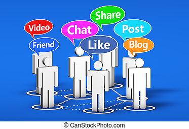 társadalmi, média, online, közösség