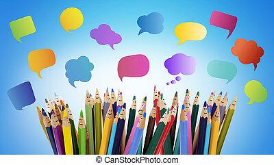 társadalmi, rudacska, párbeszéd, társalgás., színezett, ...