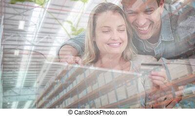társadalmi, vásárol online, otthon, párosít, distancing, ...