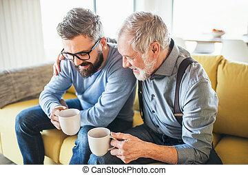társalgás., ülés, pamlag, atya, fiú, bent, csípőre szabott, felnőtt, idősebb ember, otthon