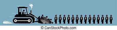 társaság, munkás, layoffs, munka, korlátozás, cut.