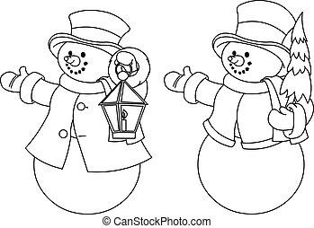 társaság, snowmen, fekete, két, fehér