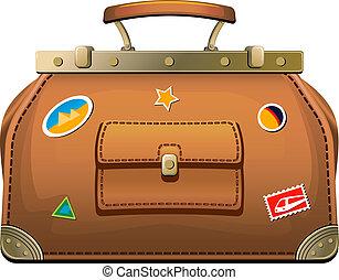 táska, ódivatú, (valise), utazás