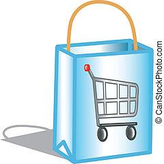 táska, bevásárlás, ikon