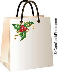 táska, bevásárlás, karácsony
