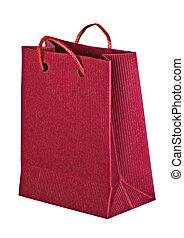 táska, bevásárlás, piros