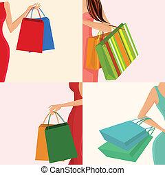 táska, leány, bevásárlás, kéz