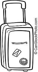 táska, utazás, szórakozottan firkálgat