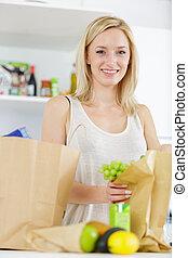 táska, woman bevásárol, drogéria, konyha