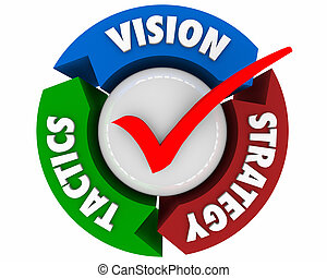 táticas, processo, setas, ilustração, estratégia, planificação, visão, 3d