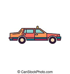 táxi, ícone, estilo, caricatura
