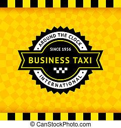 táxi, 10, checkered, símbolo, -, fundo
