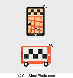 táxi, apartamento, desenho, online